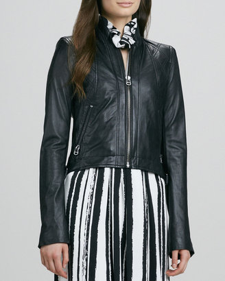 Rachel Zoe Quilted Leather Zip Jacket