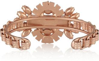 Elizabeth Cole Rose gold-plated, jade and Swarovski crystal cuff