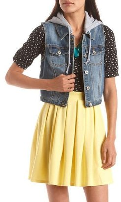 Charlotte Russe Dollhouse Knit Hood Denim Vest