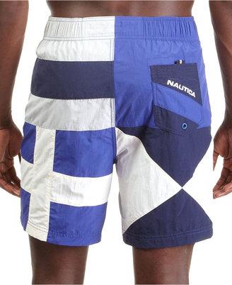 Nautica Swimwear, Colorblocked Flag Boardshort