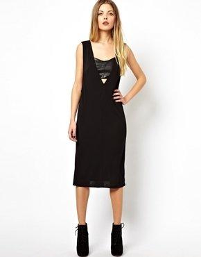 Asos Drape Dress with Leather Look Insert - Black