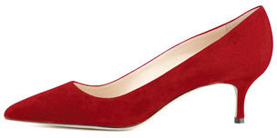 Manolo Blahnik BB Suede 50mm Pump, Scarlet