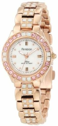 Armitron Women's 75/3689OMRG Swarovski Crystal Accented Rosegold-Tone Bracelet Watch $69 thestylecure.com