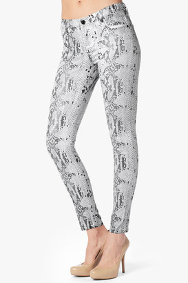 7 For All Mankind The Skinny In White With High Gloss Snake