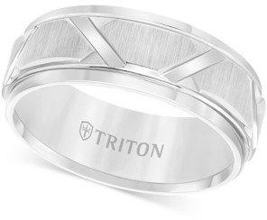Triton Men's White Tungsten Ring, Bright Cuts Wedding Band