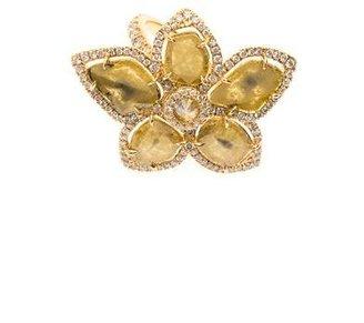 Nsr Nina Runsdorf Diamond slice & yellow gold flower ring