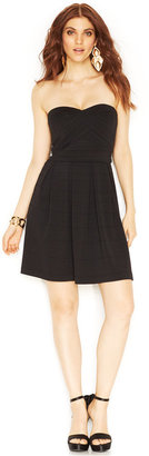 GUESS Strapless Bandage Pleated Dress