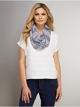 New York & Co. Love NY&C Collection - Mixed-Fabric Striped Scoopneck Top