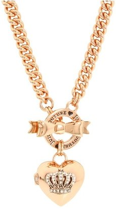 Juicy Couture Bow Toggle Heart Crown Necklace (Rose Gold) - Jewelry