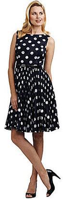 Adrianna Papell Pleated Polka-Dot Dress