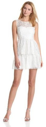 Max & Cleo Women's Inset Peplum Lace Dress