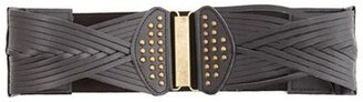 Charlotte Russe Studded Woven Wide Belt