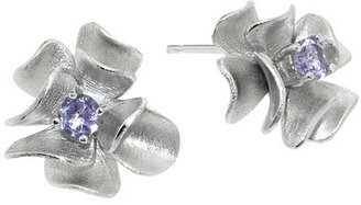 Sterling Silver Matte Finish Flower with Amethyst Stone Earrings - Silver/Pink