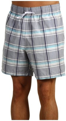 Lacoste Plaid Swim Trunk 6 (Ionian/Turquoise/White) - Apparel