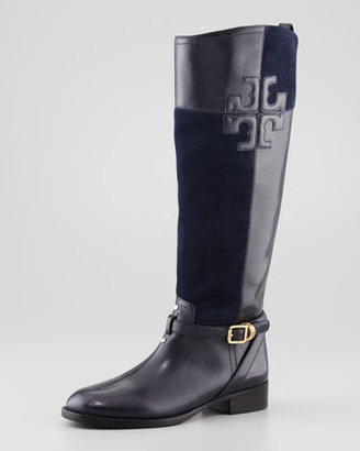 Tory Burch Lizzie Leather-Suede Riding Boot, Black/Navy