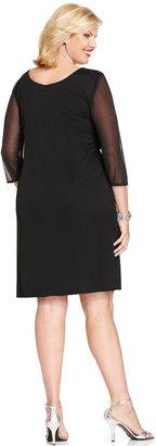 Alex Evenings Plus Size Illusion Embellished Dress