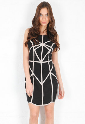 Finders Keepers Know You Now Body Dress in Black/Biscuit