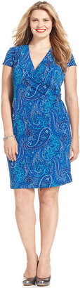 Jones New York Signature Plus Size Dress, Cap-Sleeve Printed Faux Wrap