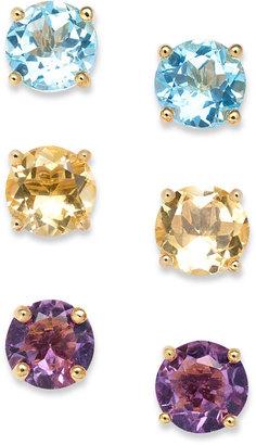 Sterling Silver Earrings Set, Multistone Set of 3 Stud Earrings (8-1/3 ct. t.w.)
