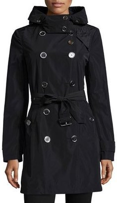 "Burberry Brit ""Balmoral"" Trenchcoat with Removable Hood, Black $795 thestylecure.com"