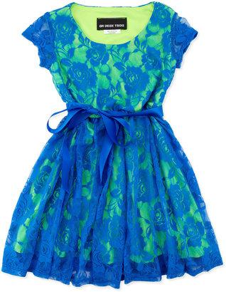 Un Deux Trois Lace Cap-Sleeve Dress, Blue/Green, 4-6X