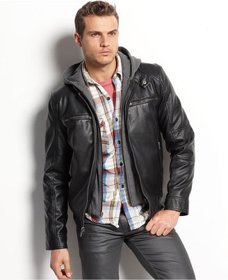 Guess Coat, Faux-Leather Hooded Motorcycle Jacket