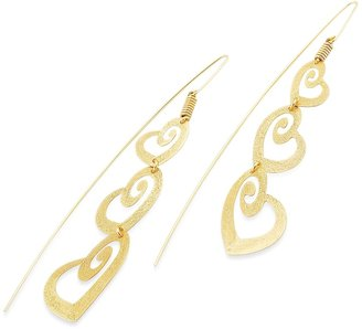 Stefano Patriarchi Golden Silver Etched Triple Heart Drop Earrings
