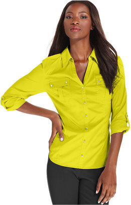 Style&Co. Top, Three-Quarter-Sleeve Shirt