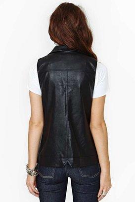 Nasty Gal Wolfsangel Faux Leather Moto Vest