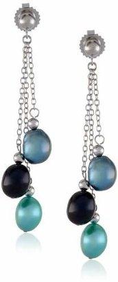 "Honora Peacock"" Freshwater Cultured Pearl Three Tier Dangle Earrings"