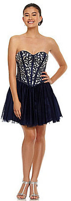 B. Darlin Strapless Beaded Corset Dress