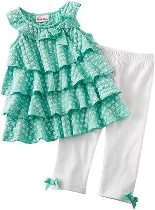 Little Lass floral tiered dress & leggings set - toddler