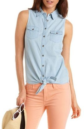 Charlotte Russe Tie-Front Chambray Button-Down
