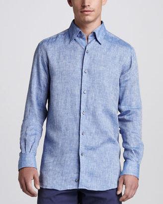 Ermenegildo Zegna Linen Sport Shirt, Hi Blue
