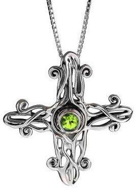 Hagit Gorali Sterling Gemstone Cross Pendant