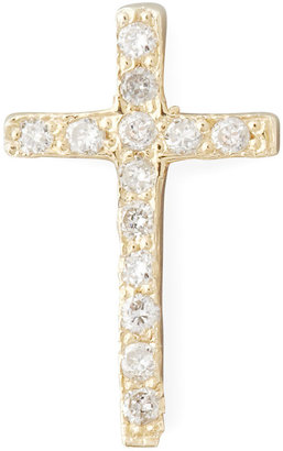 Chicco Zoe 14k One Pave Diamond Gold Cross Stud Earring