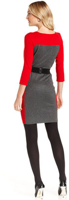 NY Collection Belted Colorblocked Sweater Dress