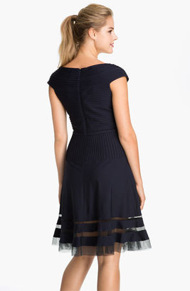 Tadashi Shoji V-Neck Tulle Trim Fit & Flare Dress