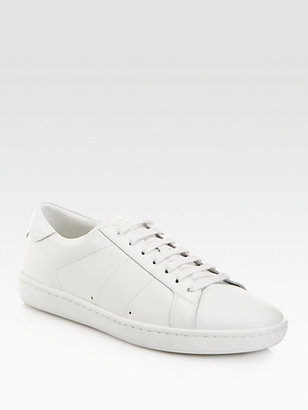 Saint Laurent Leather Lace-Up Sneakers