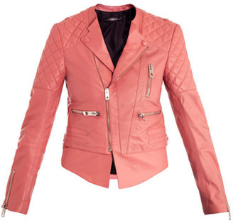 Balenciaga Quilted-shoulder leather biker jacket