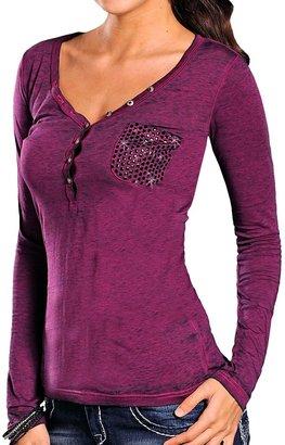 Rock & Roll Cowgirl Studded Pocket Henley Shirt - Long Sleeve (For Women)