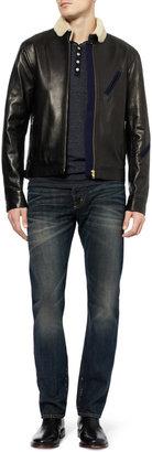 Jean Shop Long-Sleeved Cotton-Jersey Henley T-Shirt