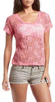 Charlotte Russe Crochet Lace Knit-Back Tee