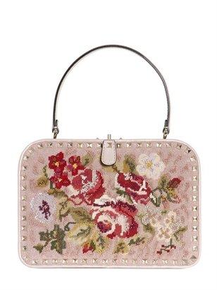 Valentino Rockstud Embroidered Frame Top Handle