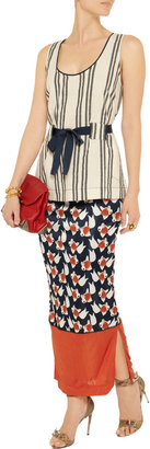 Suno Printed stretch-sateen jersey maxi skirt