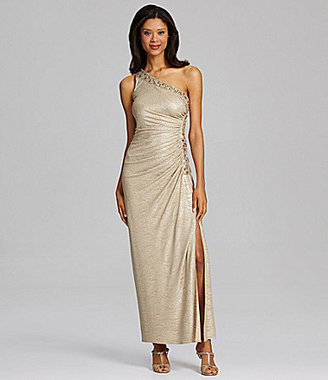 Betsy & Adam One-Shoulder Bead-Detail Gown