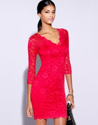 Lipsy Lace Long Sleeve Overlay Dress