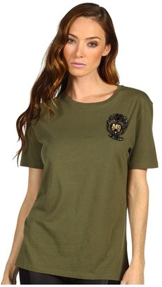 McQ by Alexander McQueen Embroidered T-Shirt (Military Green) - Apparel