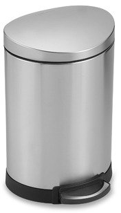 Simplehuman Fingerprint Proof Brushed Steel 6-Liter Semi-Round Step Can
