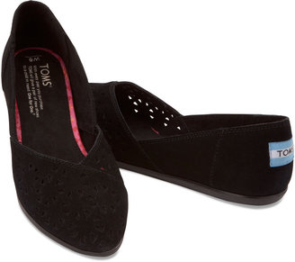 Toms Black Perforated Women's Suede Jutti Flats